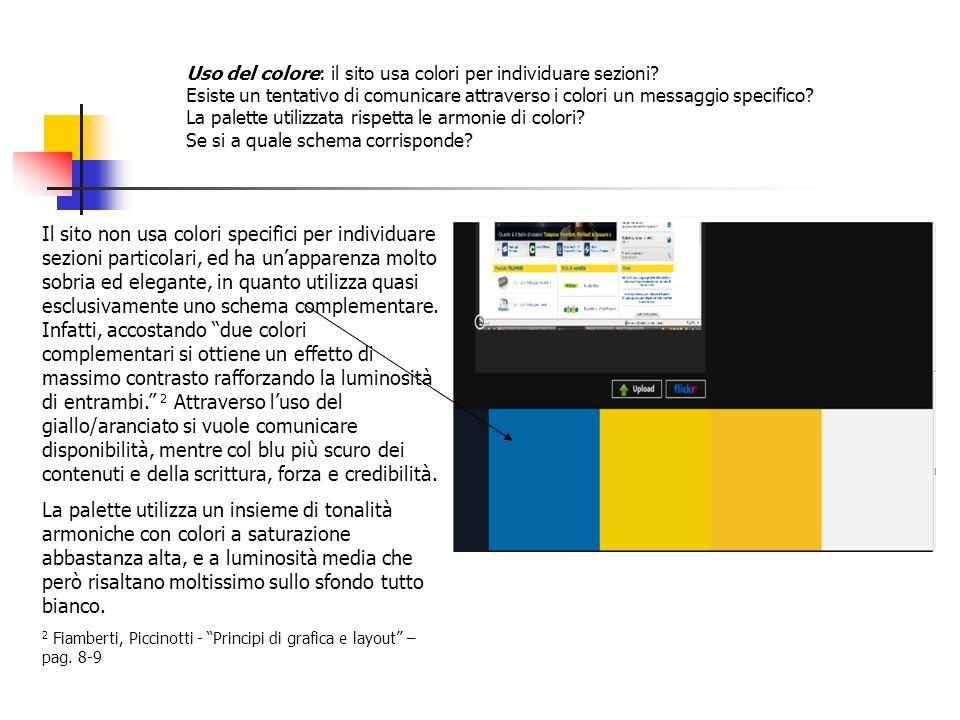 Uso del colore: il sito usa colori per individuare sezioni