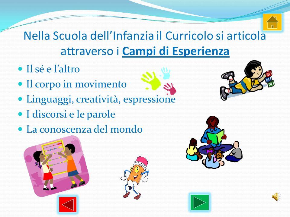 Nella Scuola dell'Infanzia il Curricolo si articola attraverso i Campi di Esperienza