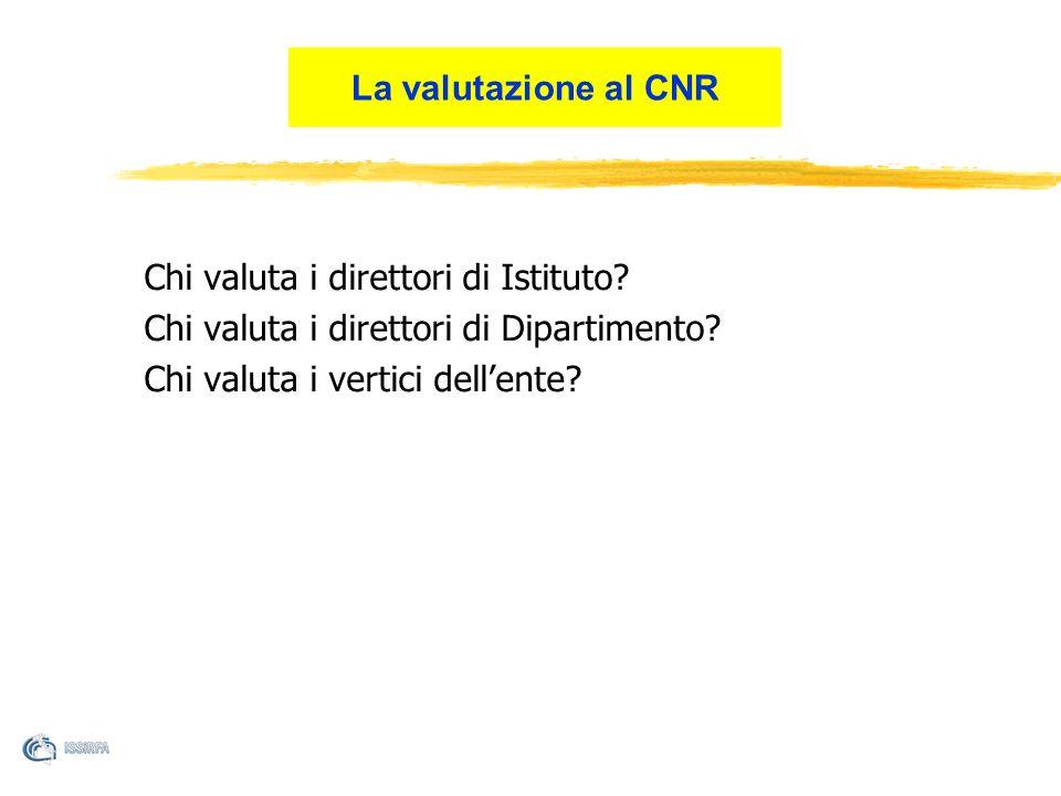 La valutazione al CNR Chi valuta i direttori di Istituto.