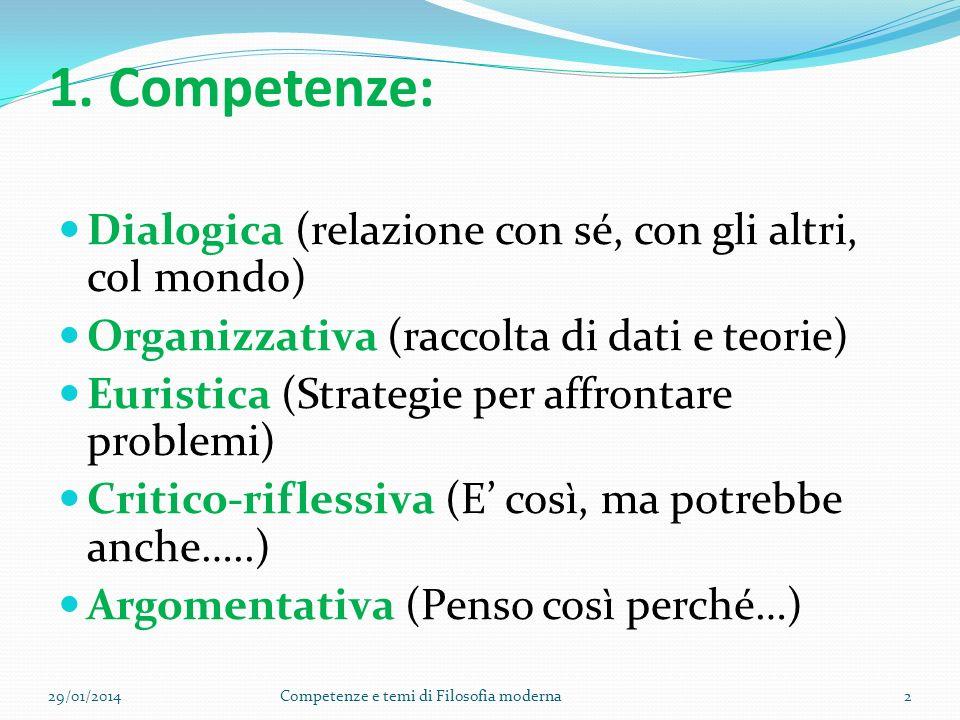 1. Competenze: Dialogica (relazione con sé, con gli altri, col mondo)