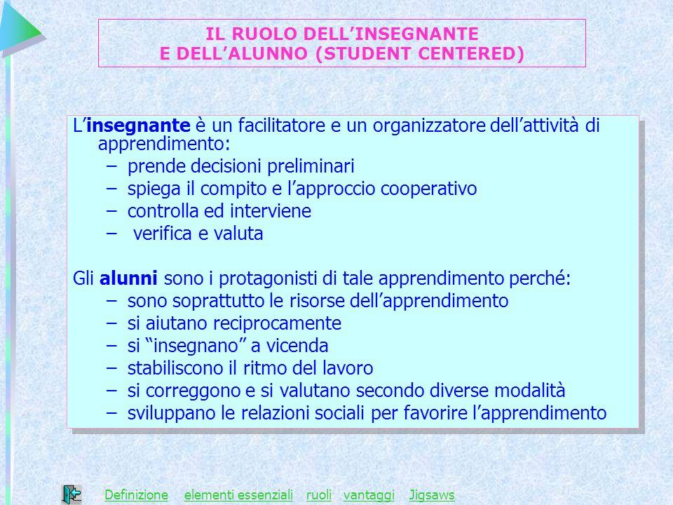 IL RUOLO DELL'INSEGNANTE E DELL'ALUNNO (STUDENT CENTERED)