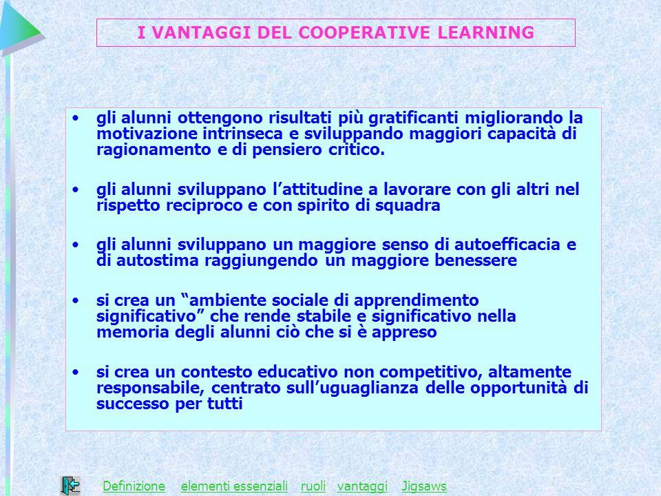 I VANTAGGI DEL COOPERATIVE LEARNING