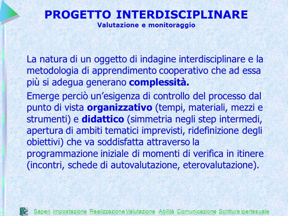 PROGETTO INTERDISCIPLINARE Valutazione e monitoraggio