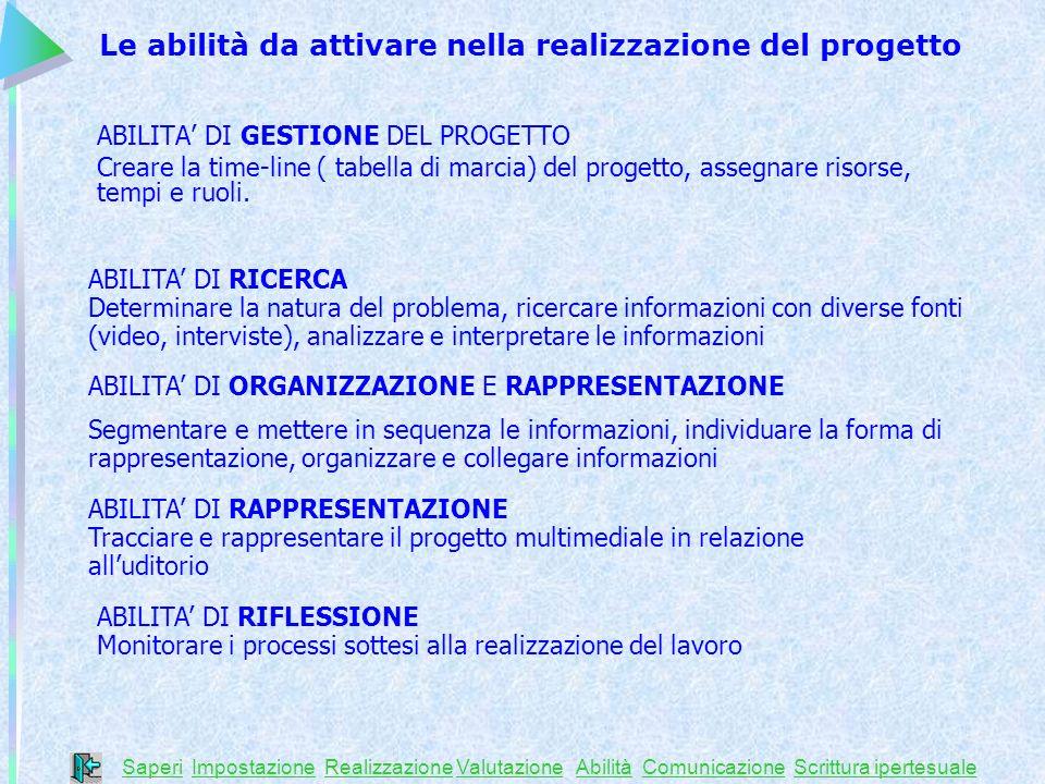 Le abilità da attivare nella realizzazione del progetto