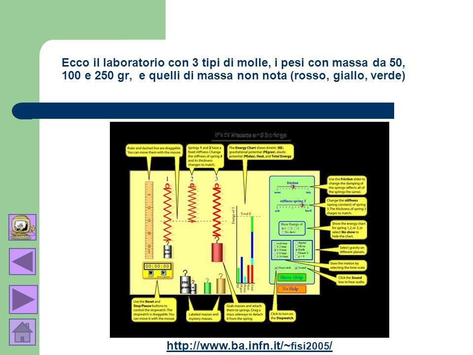 Ecco il laboratorio con 3 tipi di molle, i pesi con massa da 50, 100 e 250 gr, e quelli di massa non nota (rosso, giallo, verde)
