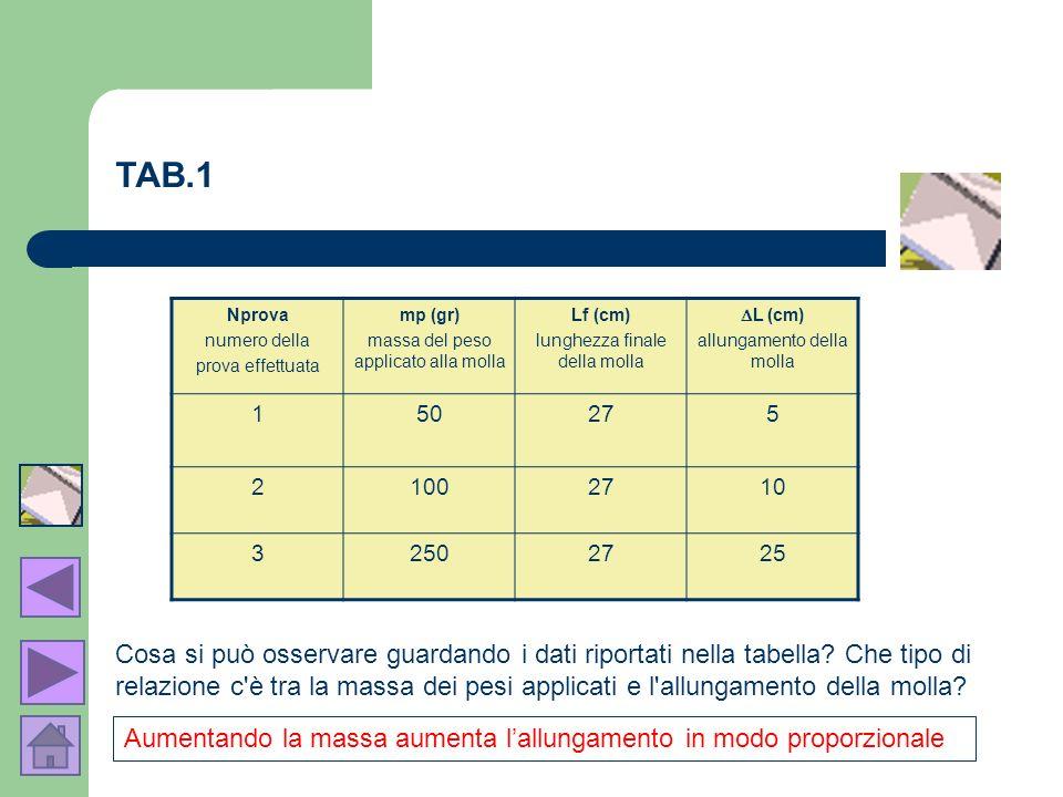 TAB.1Nprova. numero della. prova effettuata. mp (gr) massa del peso applicato alla molla. Lf (cm) lunghezza finale della molla.