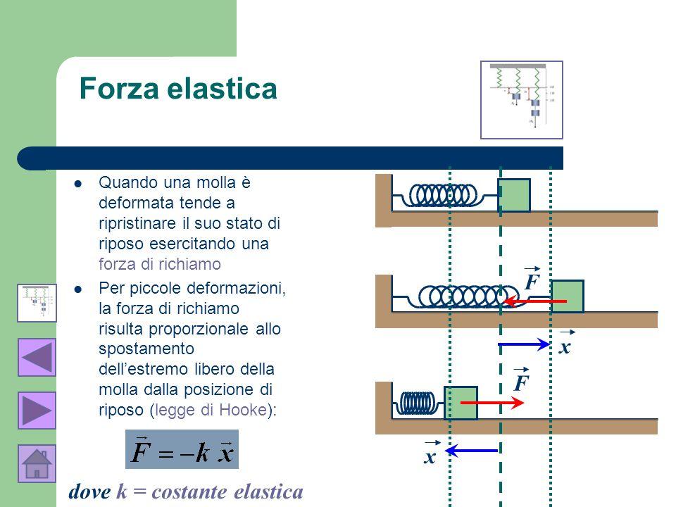 Forza elastica F x F x dove k = costante elastica