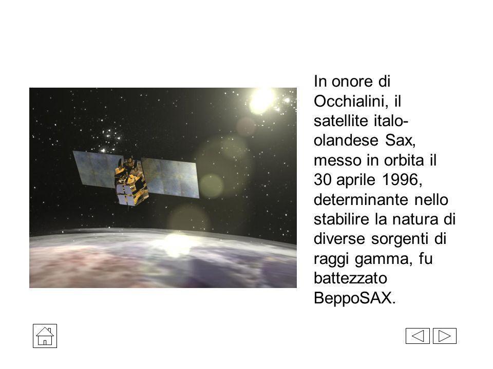 In onore di Occhialini, il satellite italo-olandese Sax, messo in orbita il 30 aprile 1996, determinante nello stabilire la natura di diverse sorgenti di raggi gamma, fu battezzato BeppoSAX.