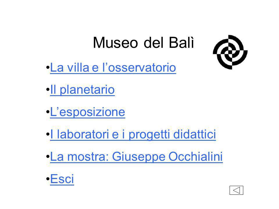 Museo del Balì La villa e l'osservatorio Il planetario L'esposizione
