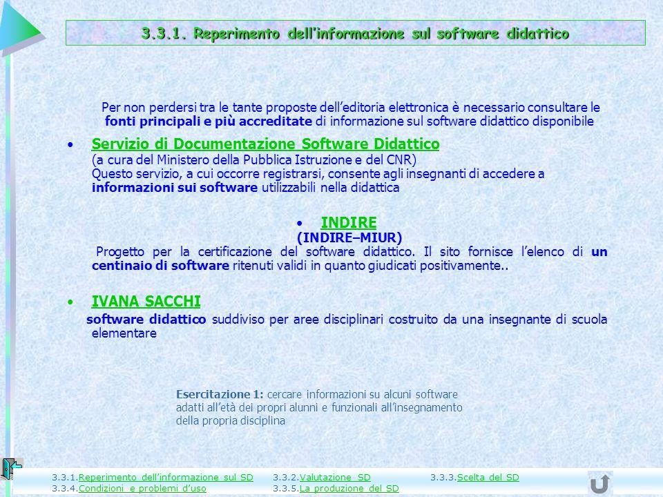 3.3.1. Reperimento dell'informazione sul software didattico