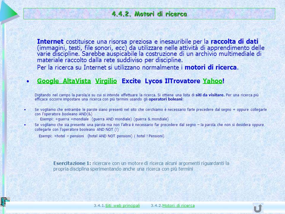 Google AltaVista Virgilio Excite Lycos IlTrovatore Yahoo!