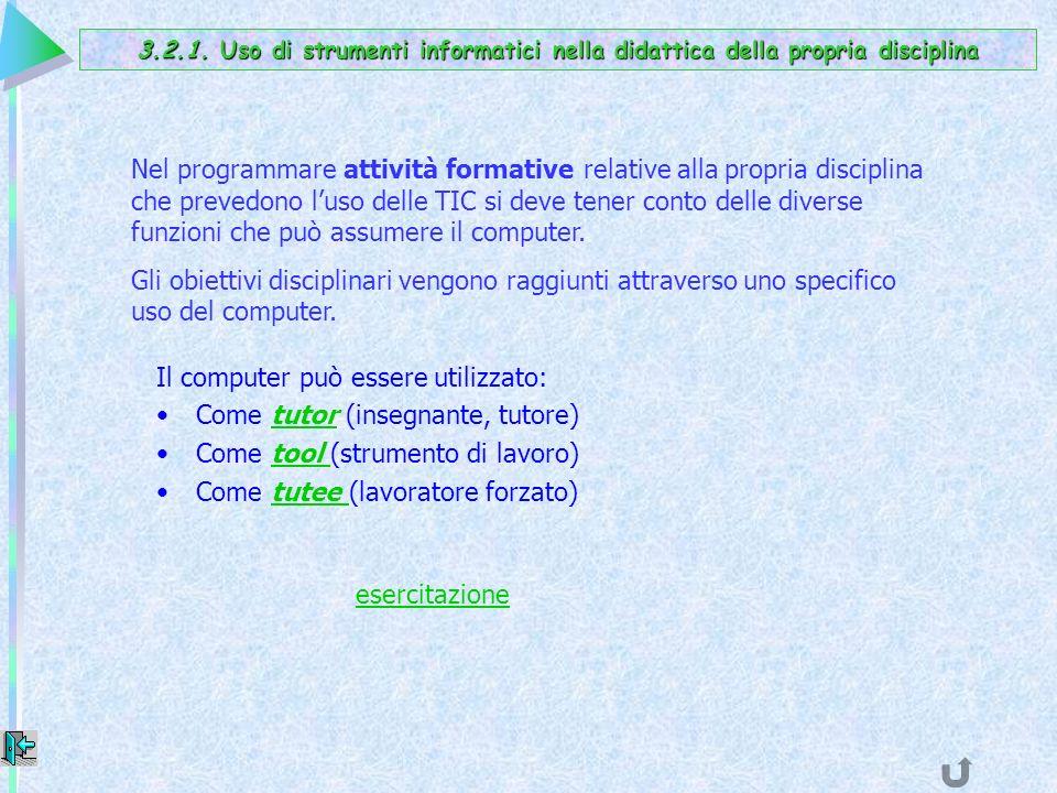 Il computer può essere utilizzato: Come tutor (insegnante, tutore)