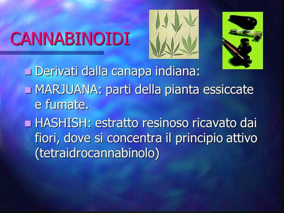 CANNABINOIDI Derivati dalla canapa indiana: