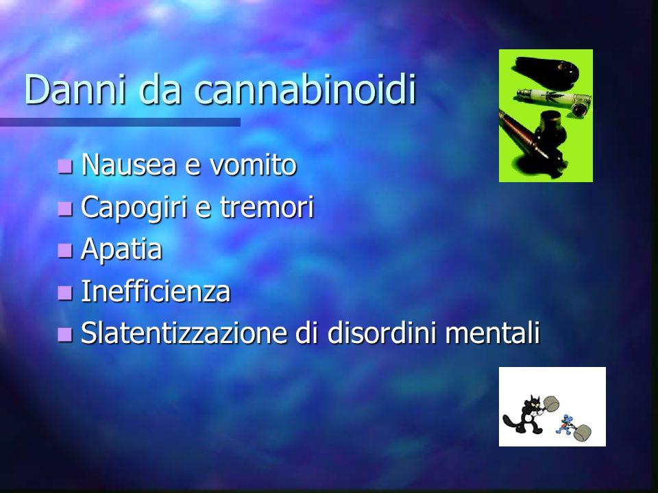 Danni da cannabinoidi Nausea e vomito Capogiri e tremori Apatia