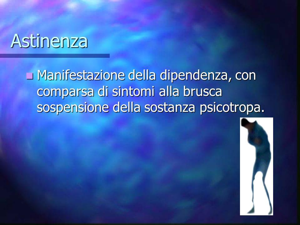 Astinenza Manifestazione della dipendenza, con comparsa di sintomi alla brusca sospensione della sostanza psicotropa.