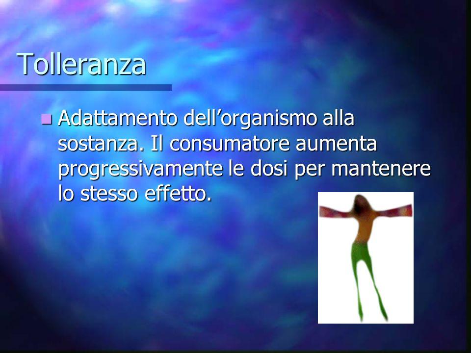 Tolleranza Adattamento dell'organismo alla sostanza.