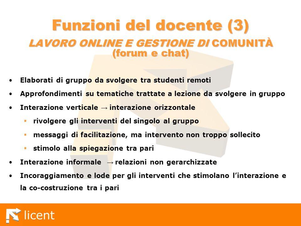 Funzioni del docente (3) LAVORO ONLINE E GESTIONE DI COMUNITÀ (forum e chat)