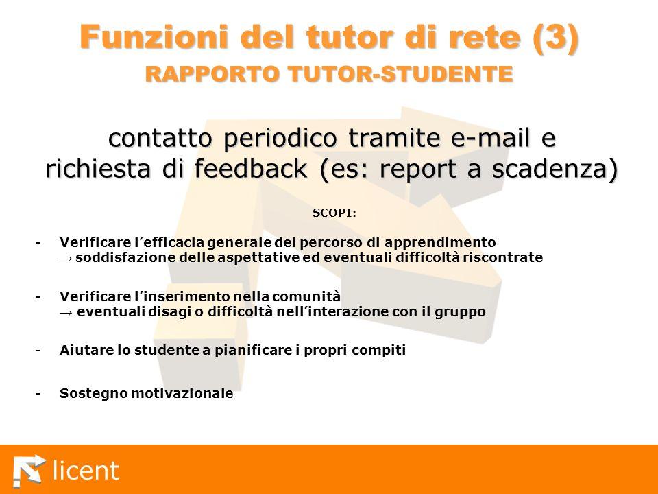 Funzioni del tutor di rete (3) RAPPORTO TUTOR-STUDENTE