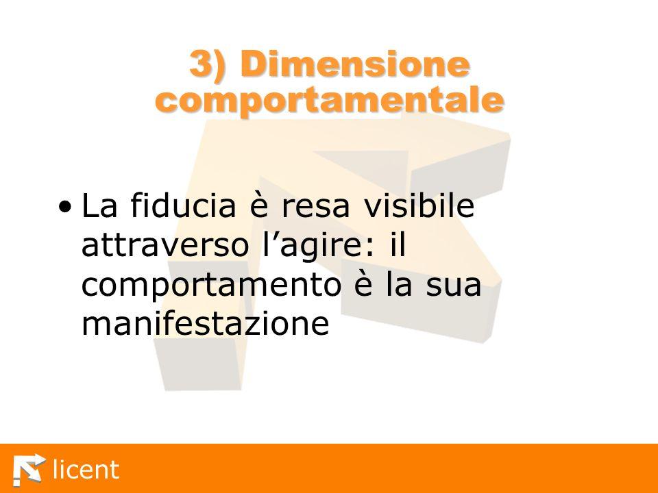 3) Dimensione comportamentale
