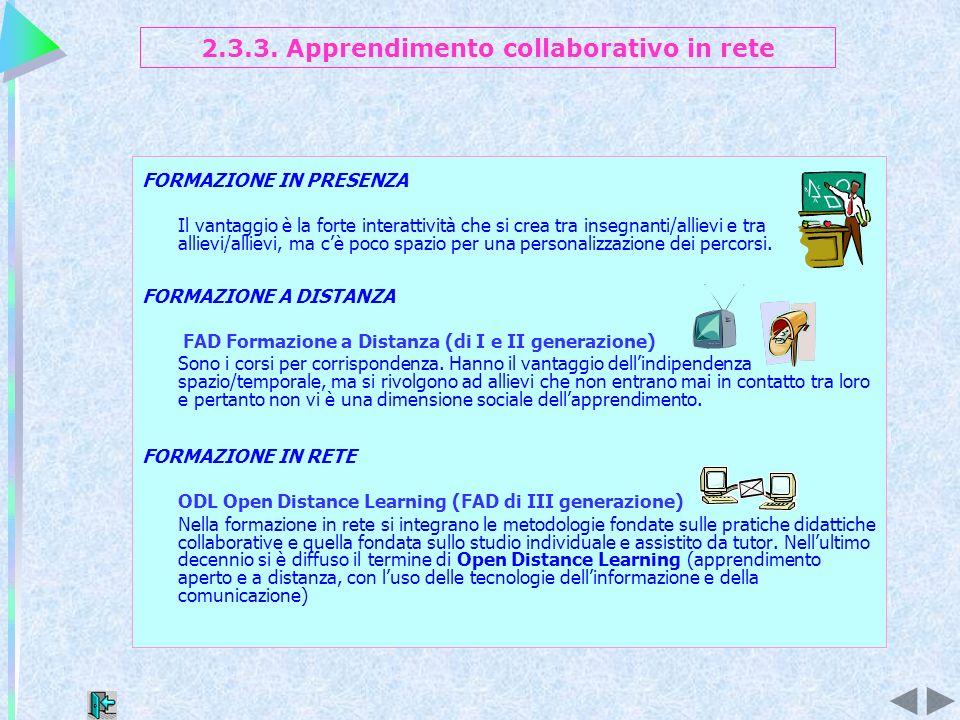 2.3.3. Apprendimento collaborativo in rete