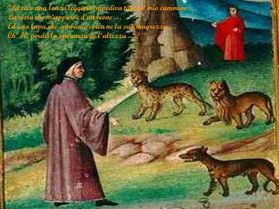 Ed ecco una lonza leggiera 'mpediva tanto il mio cammino … La vista che m'apparve d'un leone … Ed una lupa che sembiava cerca ne la sua magrezza … Ch' IO perdei la speranza de l'altezza … .
