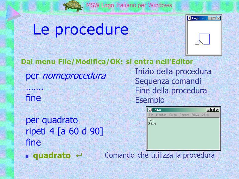 Le procedure per nomeprocedura ……. fine per quadrato