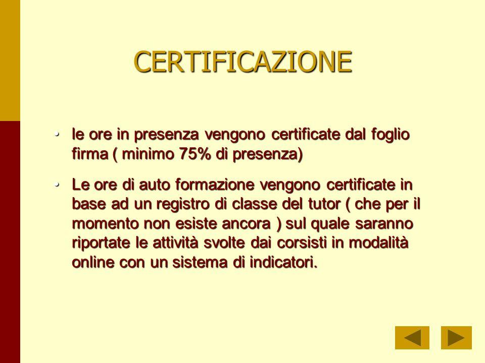 CERTIFICAZIONE le ore in presenza vengono certificate dal foglio firma ( minimo 75% di presenza)