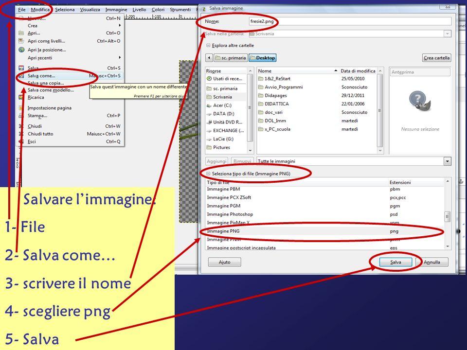Salvare l'immagine: 1- File 2- Salva come… 3- scrivere il nome 4- scegliere png 5- Salva