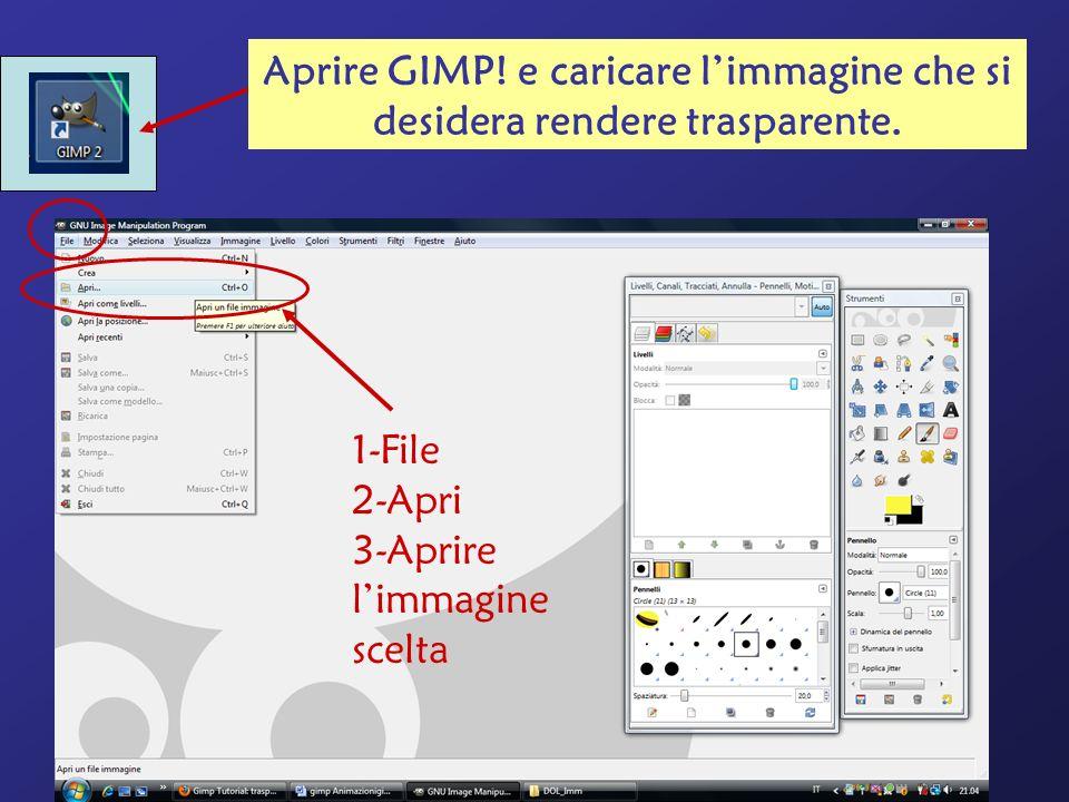 Aprire GIMP! e caricare l'immagine che si desidera rendere trasparente.
