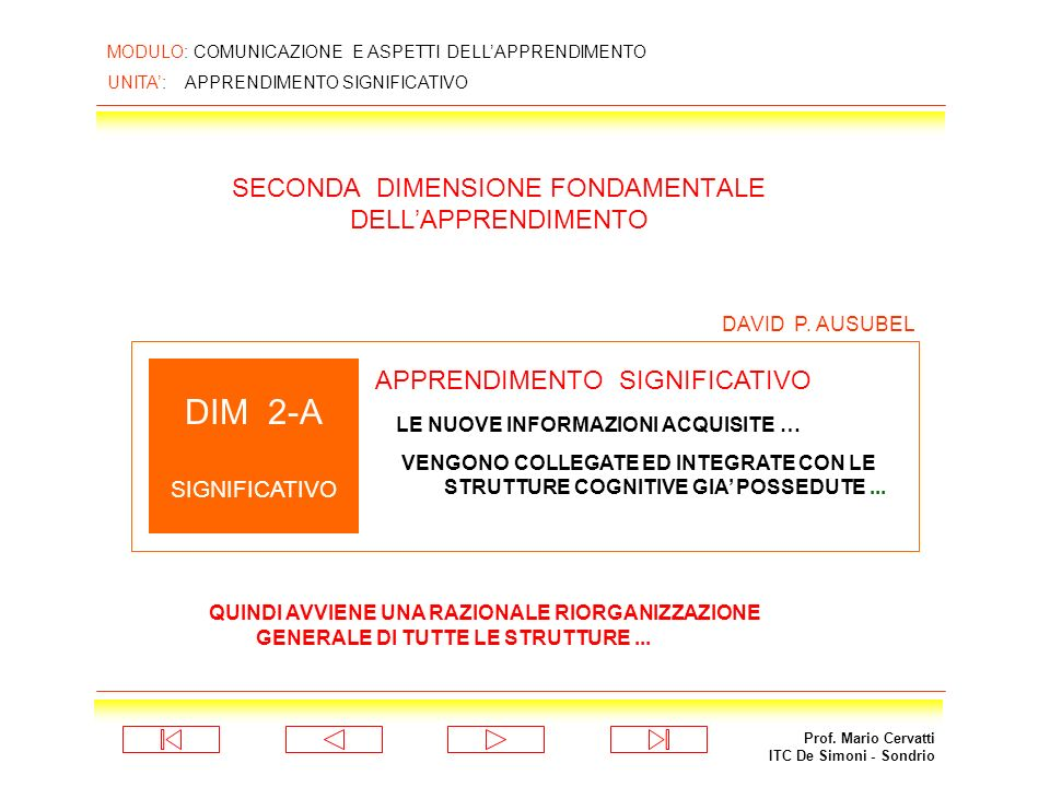 SECONDA DIMENSIONE FONDAMENTALE DELL'APPRENDIMENTO