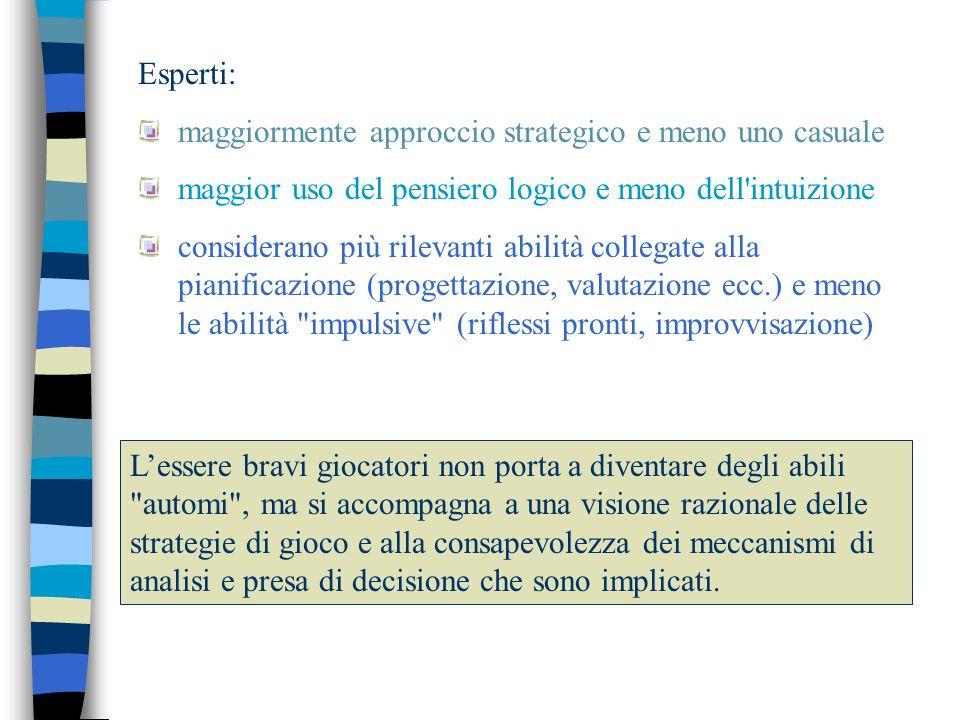 Esperti: maggiormente approccio strategico e meno uno casuale. maggior uso del pensiero logico e meno dell intuizione.