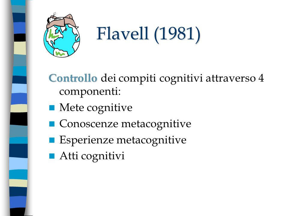 Flavell (1981) Controllo dei compiti cognitivi attraverso 4 componenti: Mete cognitive. Conoscenze metacognitive.