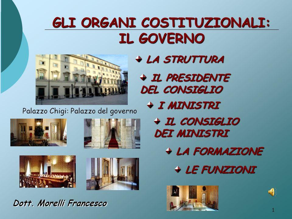 GLI ORGANI COSTITUZIONALI: IL GOVERNO