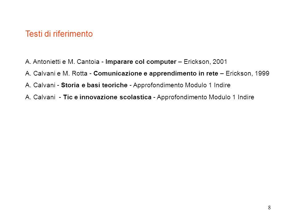 Testi di riferimento A. Antonietti e M. Cantoia - Imparare col computer – Erickson, 2001.