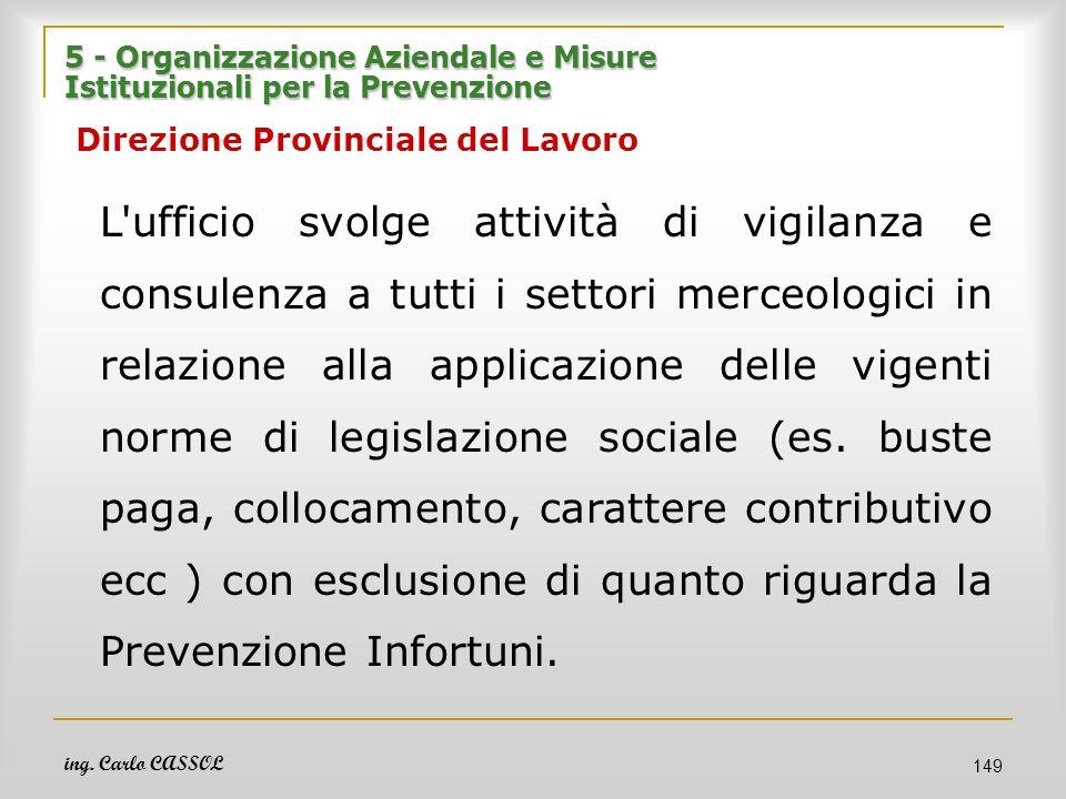 5 - Organizzazione Aziendale e Misure Istituzionali per la Prevenzione Direzione Provinciale del Lavoro