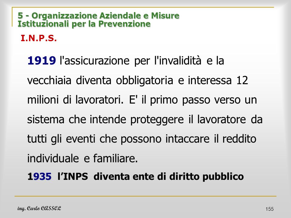 5 - Organizzazione Aziendale e Misure Istituzionali per la Prevenzione I.N.P.S.