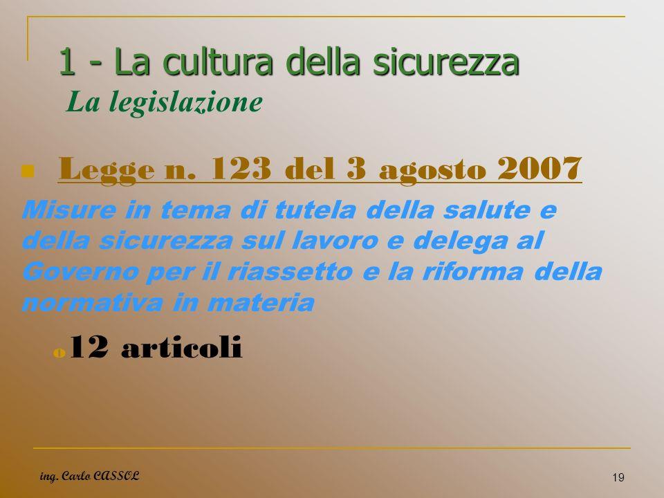 1 - La cultura della sicurezza La legislazione