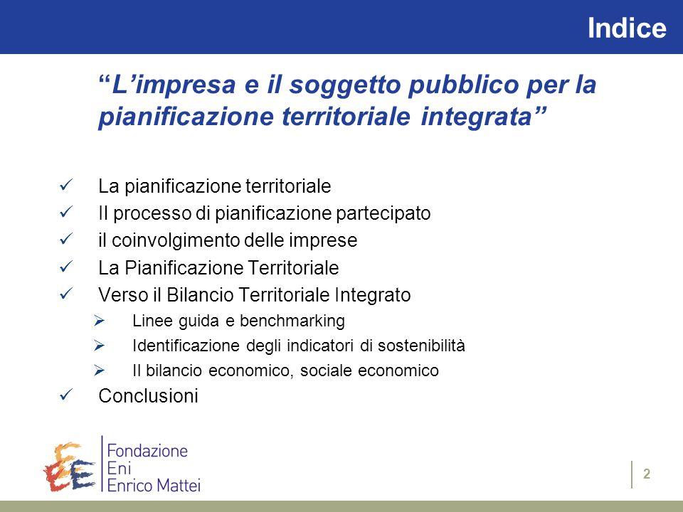 Indice L'impresa e il soggetto pubblico per la pianificazione territoriale integrata La pianificazione territoriale.