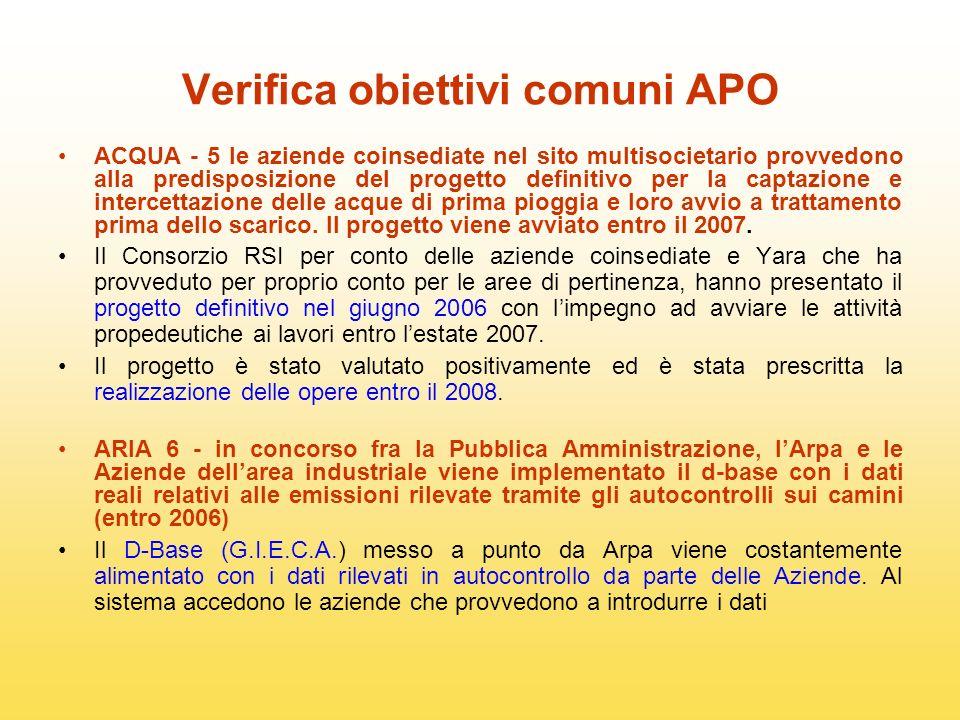 Verifica obiettivi comuni APO