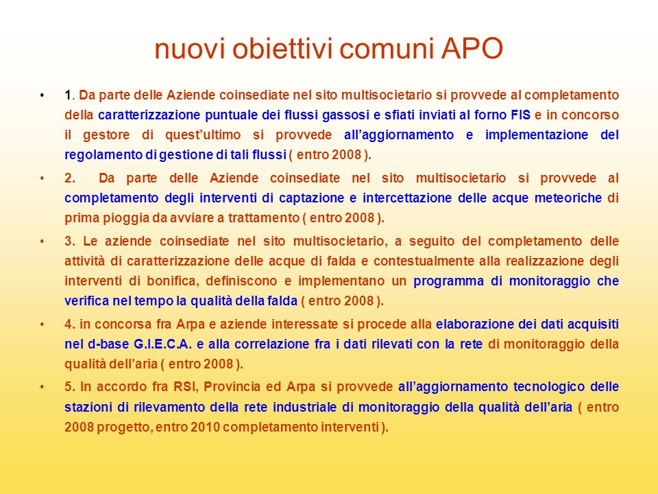 nuovi obiettivi comuni APO