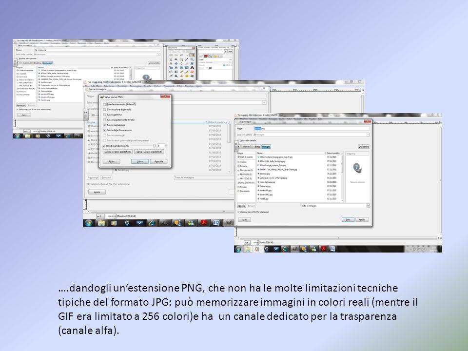 ….dandogli un'estensione PNG, che non ha le molte limitazioni tecniche tipiche del formato JPG: può memorizzare immagini in colori reali (mentre il GIF era limitato a 256 colori)e ha un canale dedicato per la trasparenza (canale alfa).