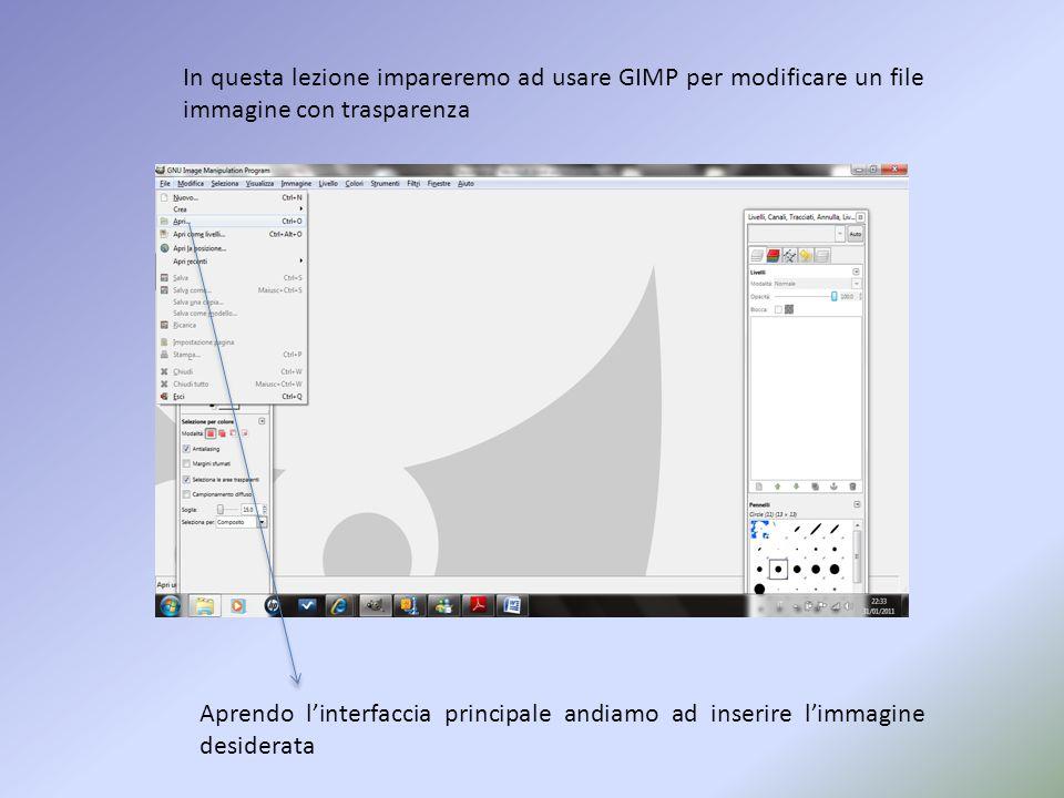 In questa lezione impareremo ad usare GIMP per modificare un file immagine con trasparenza