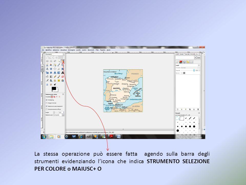 La stessa operazione può essere fatta agendo sulla barra degli strumenti evidenziando l'icona che indica STRUMENTO SELEZIONE PER COLORE o MAIUSC+ O