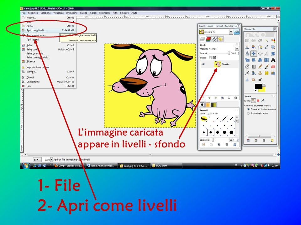 1- File 2- Apri come livelli