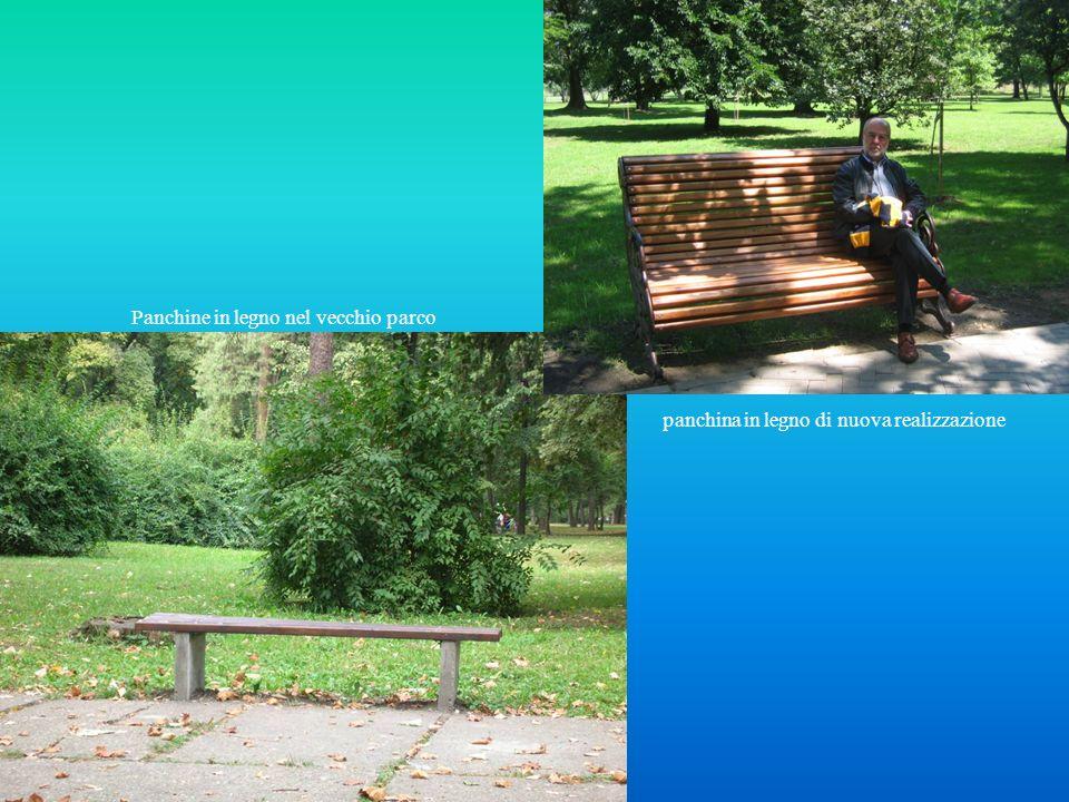 Panchine in legno nel vecchio parco