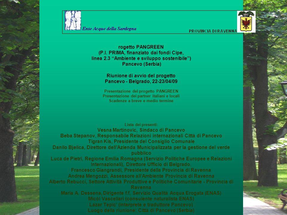 rogetto PANGREEN (P. I. PRIMA, finanziato dai fondi Cipe, linea 2