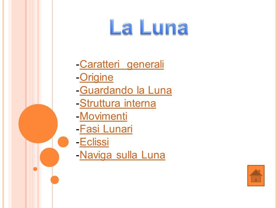 La Luna Caratteri generali Origine Guardando la Luna Struttura interna