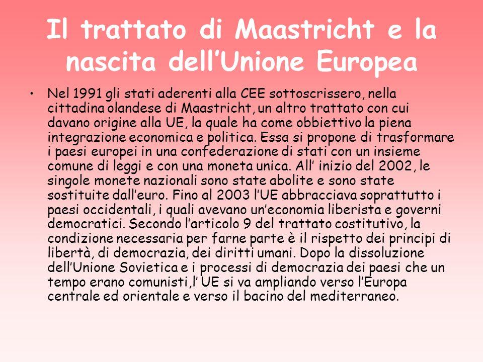 Il trattato di Maastricht e la nascita dell'Unione Europea