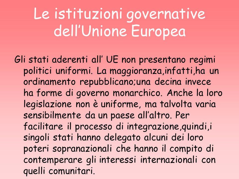 Le istituzioni governative dell'Unione Europea