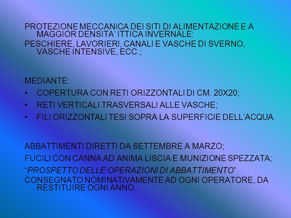PROTEZIONE MECCANICA DEI SITI DI ALIMENTAZIONE E A MAGGIOR DENSITA' ITTICA INVERNALE: